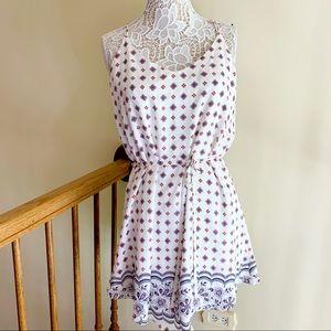 Aqua woman's tank mini dress floral print white